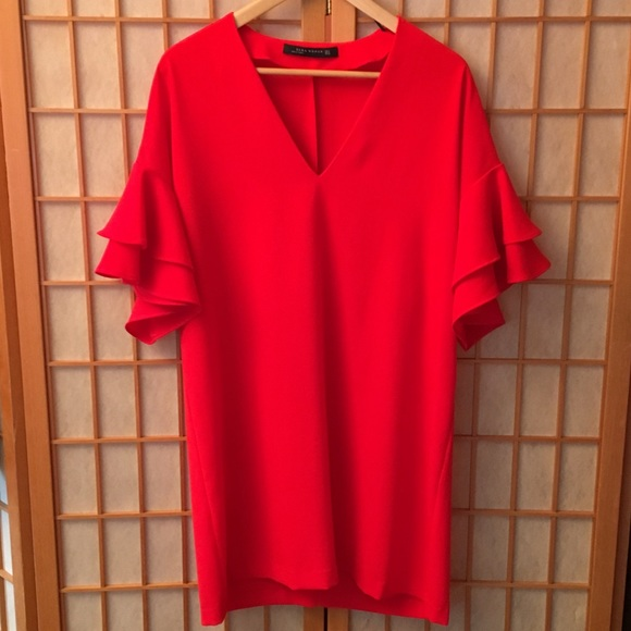 Zara Dresses & Skirts - Zara woman Red Frilled Sleeve Mini Dress